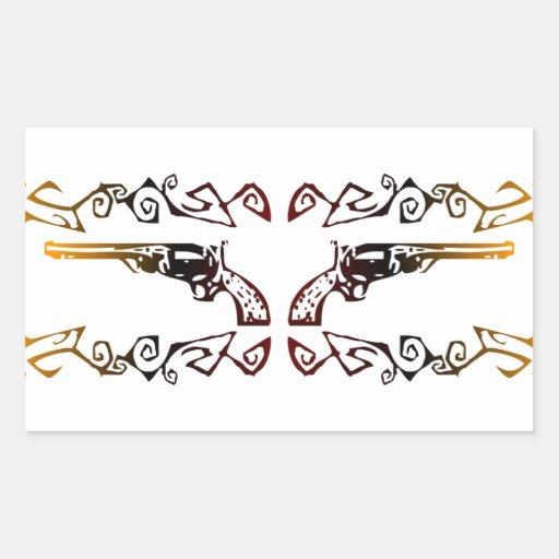 Seis pistolas tribales pegatina rectangular