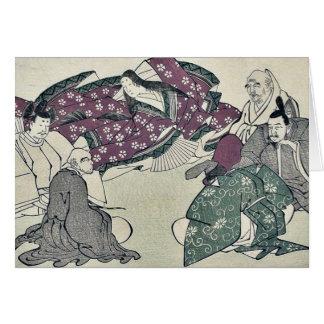 Seis poetas por Kitagawa, Utamaro Ukiyoe Felicitaciones