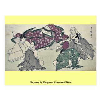 Seis poetas por Kitagawa, Utamaro Ukiyoe Tarjeta Postal