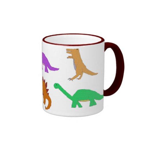 Seis tazas de los dinosaurios