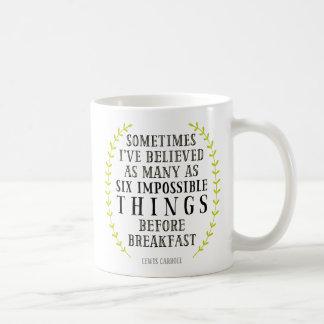 Seis tazas imposibles de la cita de las cosas