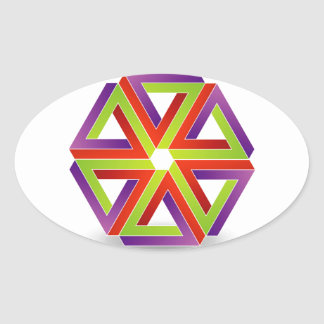 seis triángulos subiós pluma para simbolizar pegatina ovalada