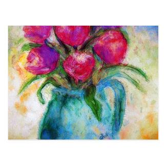 Seis tulipanes en el florero azul, arte de la postales