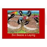Seis uno-Colocaciones de los gansos Felicitacion