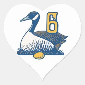 Seis uno-Colocaciones de los gansos Pegatina En Forma De Corazón
