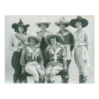 Seis vaqueras en gorras y marcos postal