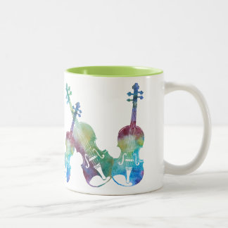 Seis violines de Colorwash Taza De Café De Dos Colores
