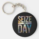 Seize the Day Black Basic Round Button Keychain