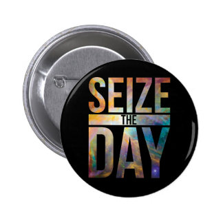 Seize the Day Black Pinback Buttons