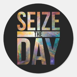 Seize the Day Black Classic Round Sticker