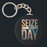 "Seize the Day Black Keychain<br><div class=""desc"">Personalise your style. Add a name, or even a nickname, to make this case the perfect gift for him, her, or even yourself! Just click &quot;customise it&quot; to add images and text. Get this vibrant orion nebula &quot;seize the day&quot; typographic design on a wide range of products! Background image Orion...</div>"