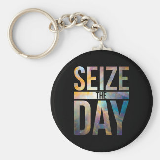 Seize the Day Black Keychain