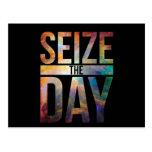 Seize the Day Black Postcard