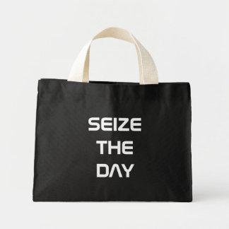 seize the day mini tote bag