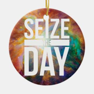 Seize the Day Nebula Ceramic Ornament