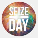 Seize the Day Nebula Classic Round Sticker