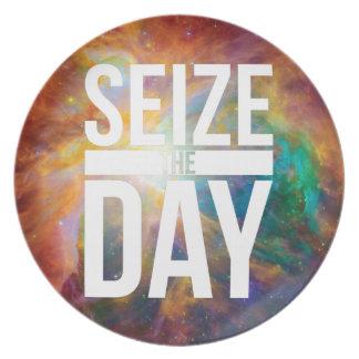 Seize the Day Nebula Melamine Plate