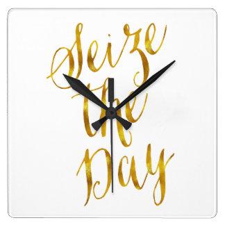 Seize The Day Quote Faux Gold Foil Metallic Design Square Wall Clock