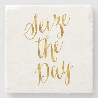 Seize The Day Quote Faux Gold Foil Metallic Design Stone Coaster