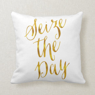 Seize The Day Quote Faux Gold Foil Metallic Design Throw Pillow