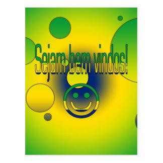 Sejam bem Vindos! Brazil Flag Colors Pop Art Postcard