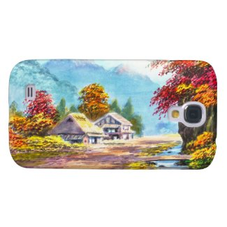 Seki K Country Farm by Stream in Autumn scenery Samsung Galaxy S4 Cases