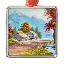 Seki K Country Farm by Stream in Autumn scenery Metal Ornament