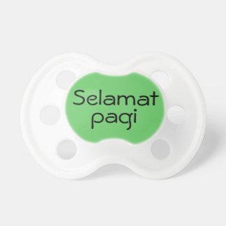 Selamat verde Pagi hola en bebé del indonesio del Chupetes De Bebe