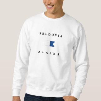Seldovia Alaska Alpha Dive Flag Pullover Sweatshirt