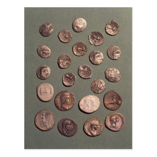 Selección céltica y monedas romanas encontradas postal