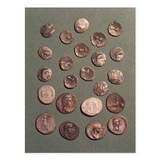 Selección céltica y monedas romanas encontradas tarjetas postales