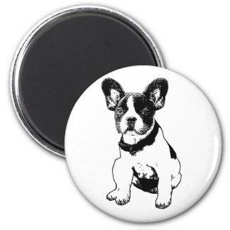 Selección de encargo del perrito del dogo francés imán redondo 5 cm