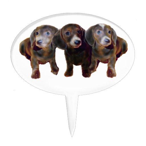 Selección de la torta de tres perros del Dachshund Decoración Para Tarta