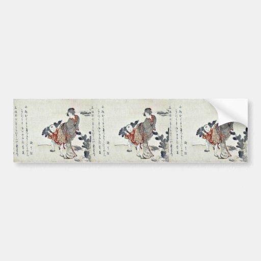Selección de pinos jovenes por Katsushika, Hokusai Pegatina De Parachoque