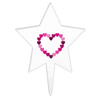 Selección rosada de la torta del corazón de los co figuras para tartas