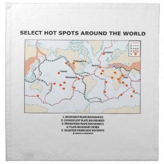 Seleccione los puntos calientes en todo el mundo servilleta