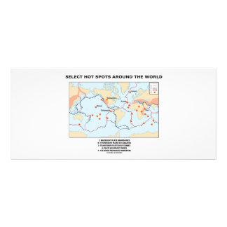 Seleccione los puntos calientes en todo el mundo diseño de tarjeta publicitaria