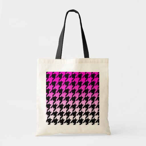 Select A Color Fade to White Houndstooth Canvas Bag