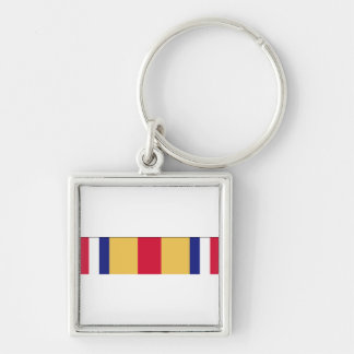 Selected Marine Corps Reserve Ribbon Silver-Colored Square Keychain