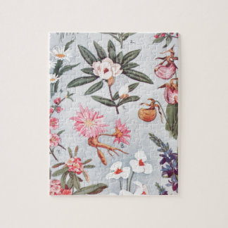 Selected State Flowers Vintage Art Illustration Puzzle