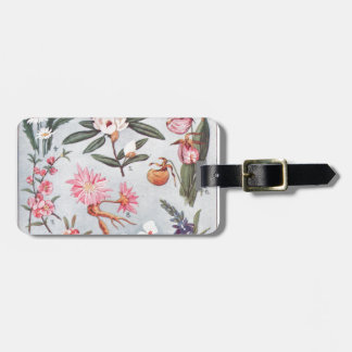 Selected State Flowers Vintage Art Illustration Tag For Luggage
