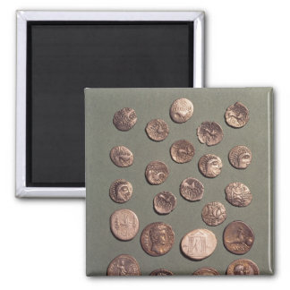 Selection Celtic and Roman  coins found 2 Inch Square Magnet