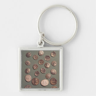 Selection Celtic and Roman  coins found Silver-Colored Square Keychain