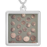 Selection Celtic and Roman  coins found Silver Plated Necklace