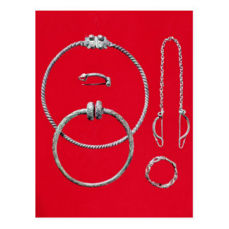 Selection jewellery, including brooch postcard