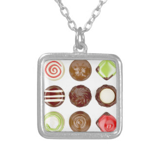 Selection of chocolate candies silver plated necklace