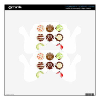 Selection of chocolate candies skin for PS3 controller