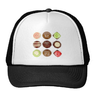 Selection of chocolate candies trucker hat
