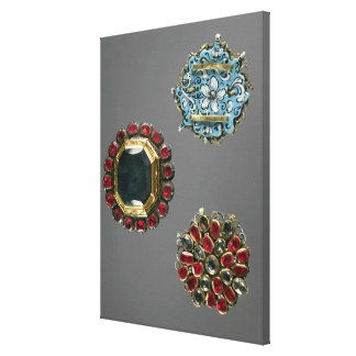 Selection of costume brooches canvas print