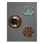 Selection of costume brooches post card